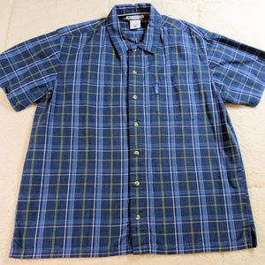 Columbia Blue Plaid Button Down Shirt Large